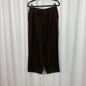 FLAX Brown Linen Crop Pants Sz.M NWT
